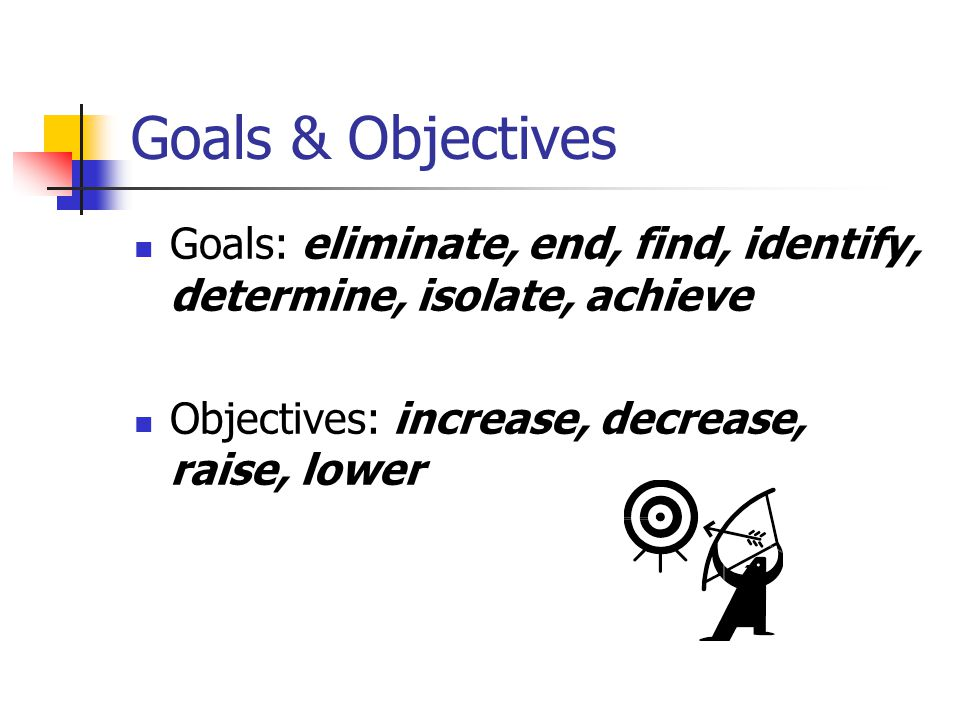 Goals & Objectives Goals: eliminate, end, find, identify, determine, isolate, achieve Objectives: increase, decrease, raise, lower