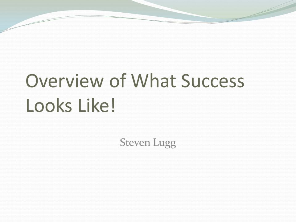 Overview of What Success Looks Like! Steven Lugg