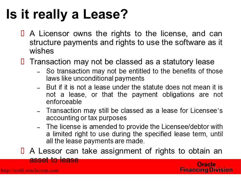 Is it really a Lease.