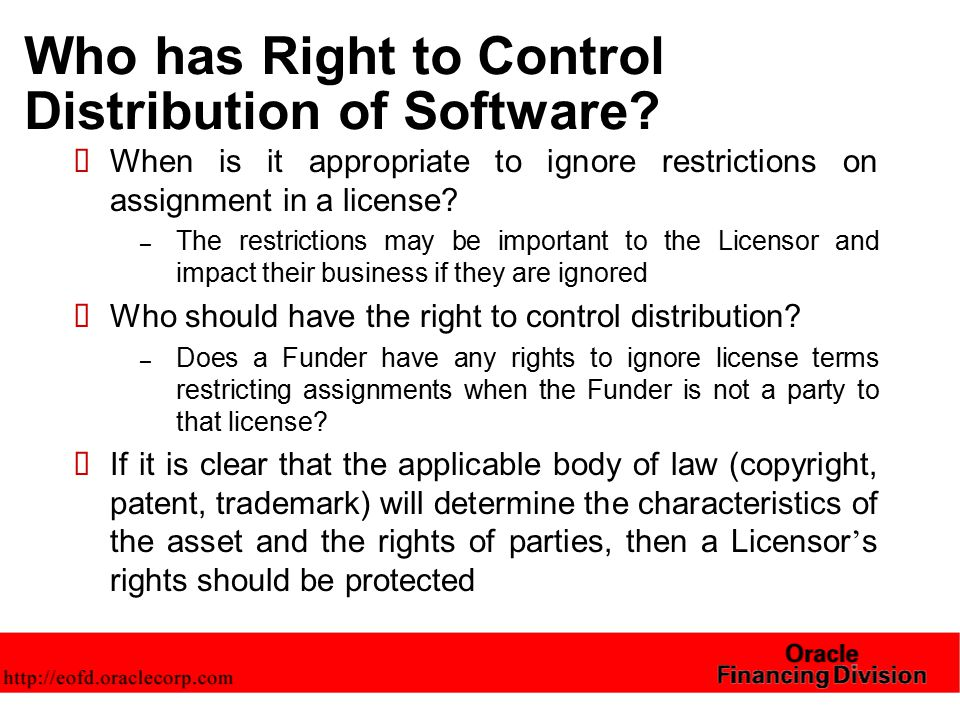 Who has Right to Control Distribution of Software.