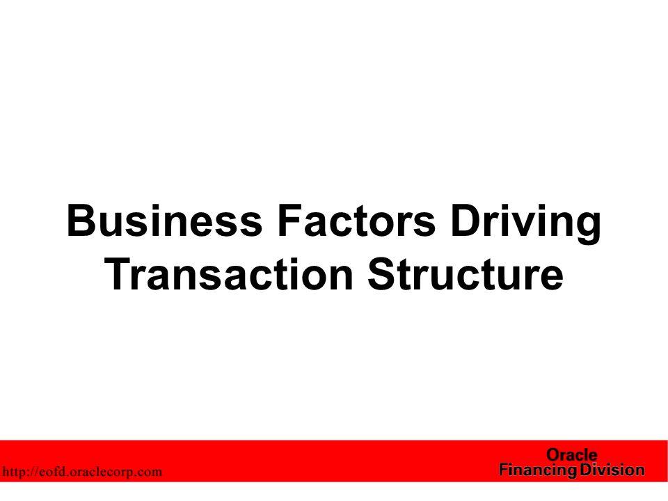 Business Factors Driving Transaction Structure