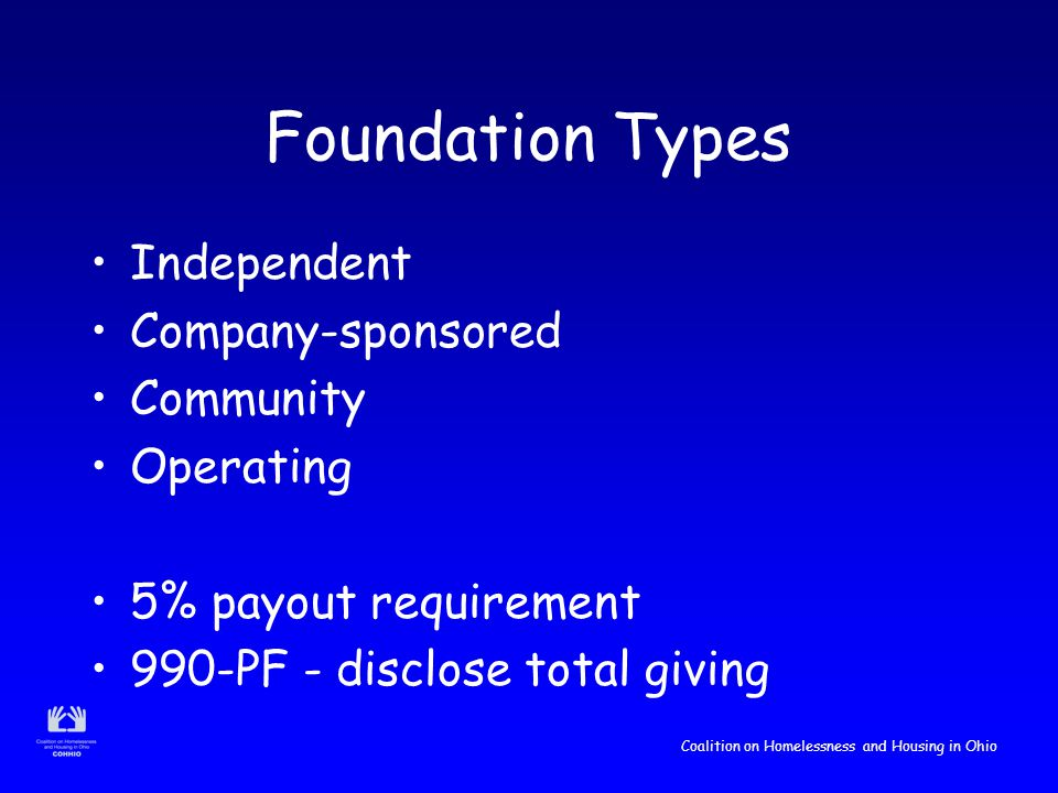Coalition on Homelessness and Housing in Ohio Foundation Types Independent Company-sponsored Community Operating 5% payout requirement 990-PF - disclose total giving