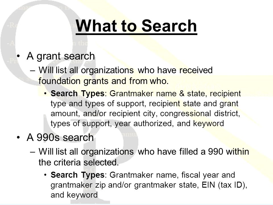 What to Search A grant search –Will list all organizations who have received foundation grants and from who.