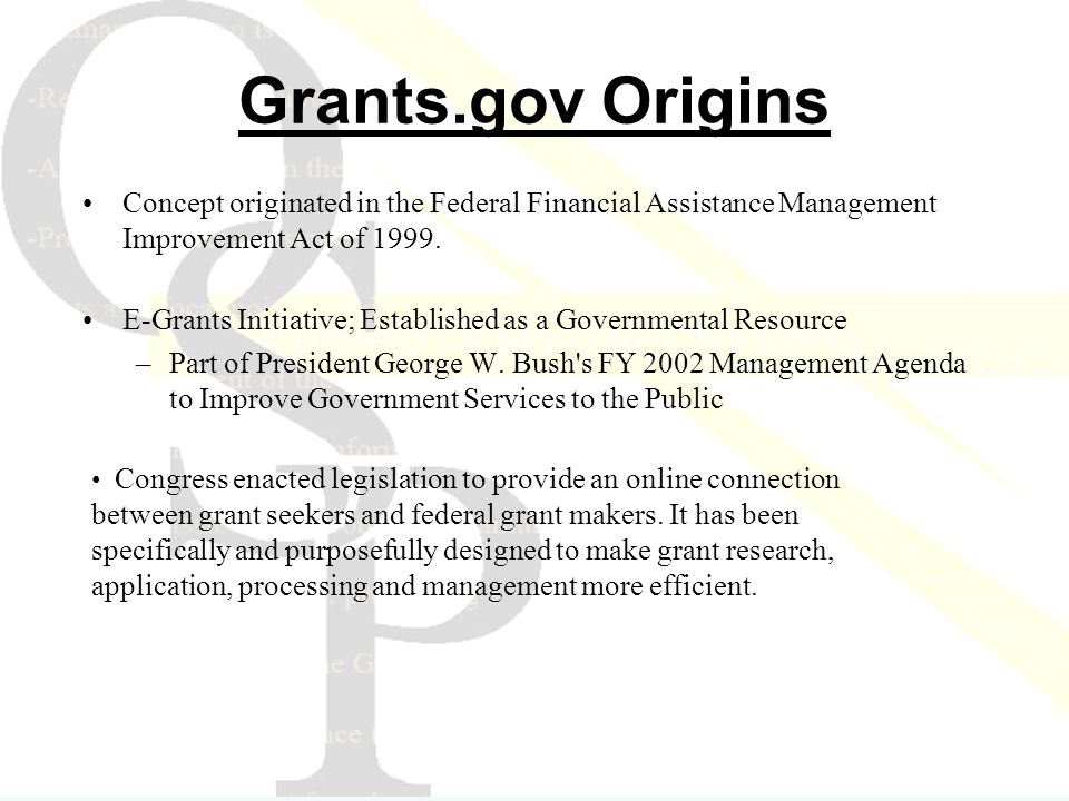 Concept originated in the Federal Financial Assistance Management Improvement Act of 1999.