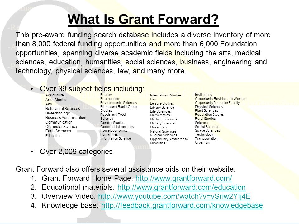 This pre-award funding search database includes a diverse inventory of more than 8,000 federal funding opportunities and more than 6,000 Foundation opportunities, spanning diverse academic fields including the arts, medical sciences, education, humanities, social sciences, business, engineering and technology, physical sciences, law, and many more.