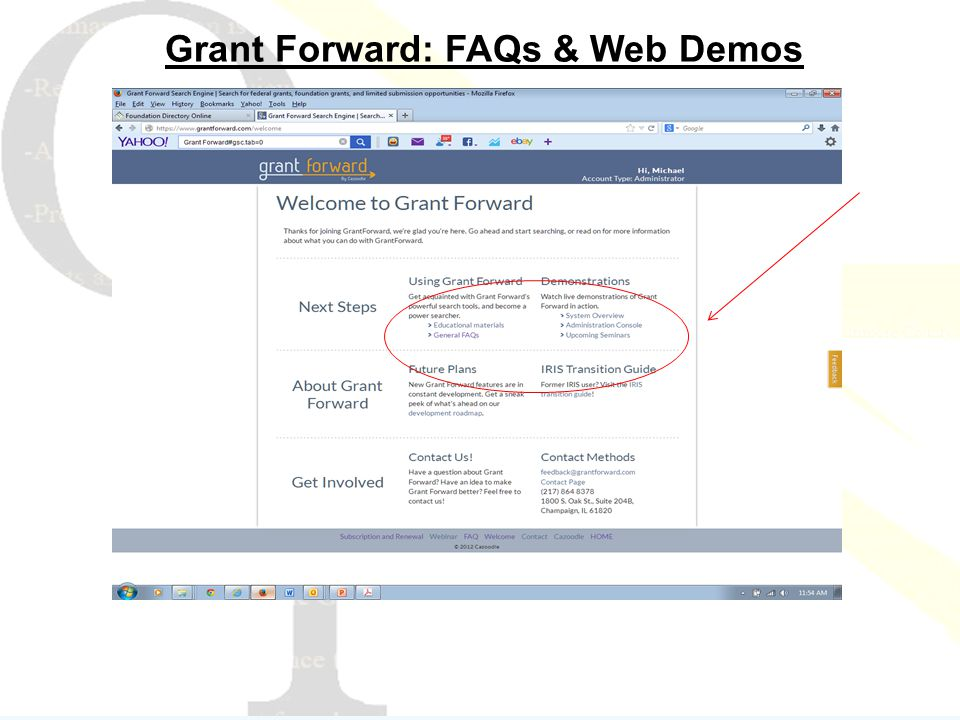 Grant Forward: FAQs & Web Demos