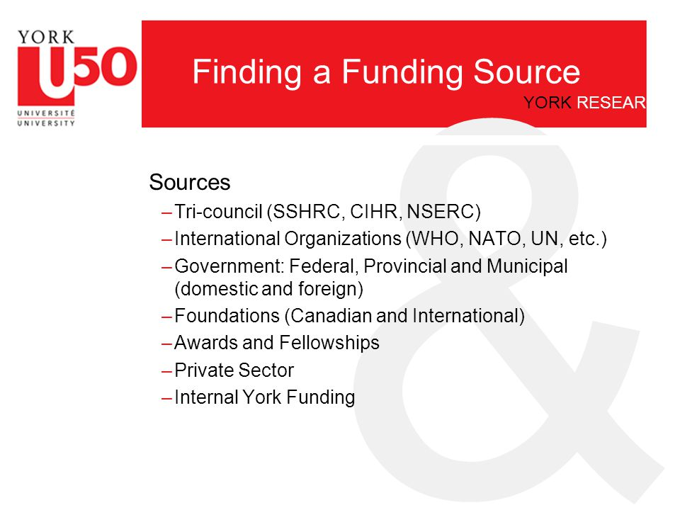 & YORK RESEARCH Finding a Source of Funding Who Can Help.