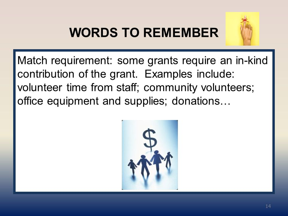 WORDS TO REMEMBER Match requirement: some grants require an in-kind contribution of the grant.