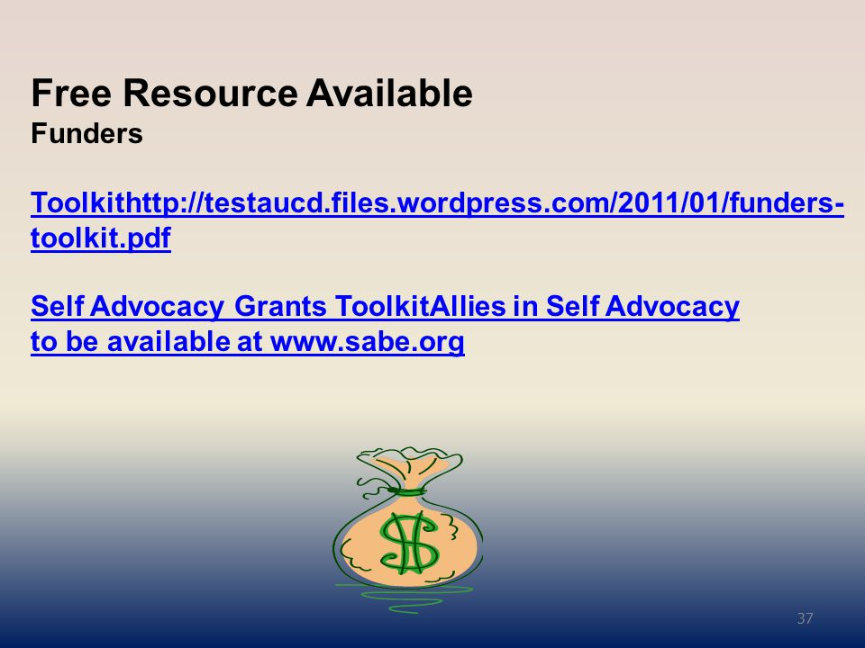 Free Resource Available Funders Toolkithttp://testaucd.files.wordpress.com/2011/01/funders- toolkit.pdf Self Advocacy Grants ToolkitAllies in Self Advocacy to be available at www.sabe.org Toolkithttp://testaucd.files.wordpress.com/2011/01/funders- toolkit.pdf Self Advocacy Grants ToolkitAllies in Self Advocacy to be available at www.sabe.org 37