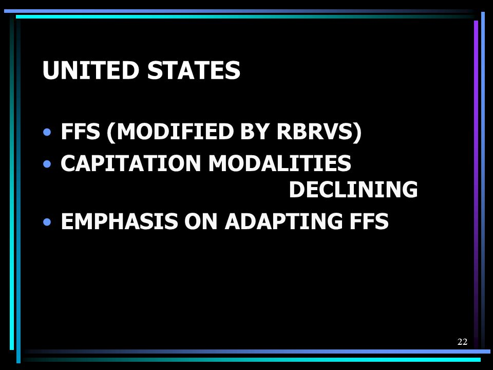 22 UNITED STATES FFS (MODIFIED BY RBRVS) CAPITATION MODALITIES DECLINING EMPHASIS ON ADAPTING FFS
