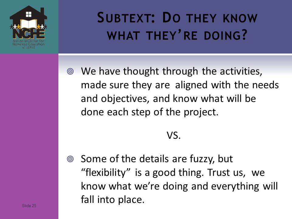 Slide 25 S UBTEXT : D O THEY KNOW WHAT THEY ' RE DOING .