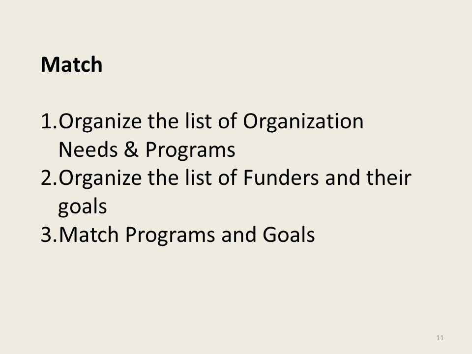 11 Match 1.Organize the list of Organization Needs & Programs 2.Organize the list of Funders and their goals 3.Match Programs and Goals