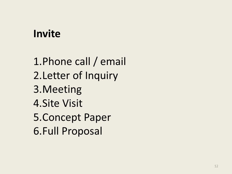 12 Invite 1.Phone call / email 2.Letter of Inquiry 3.Meeting 4.Site Visit 5.Concept Paper 6.Full Proposal