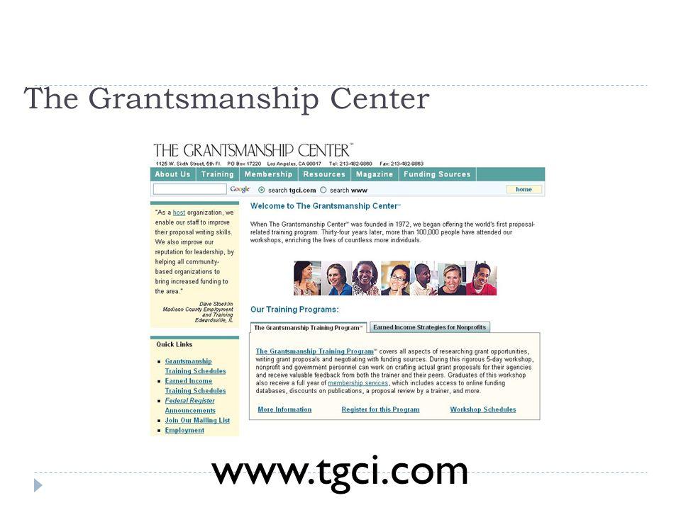 The Grantsmanship Center www.tgci.com