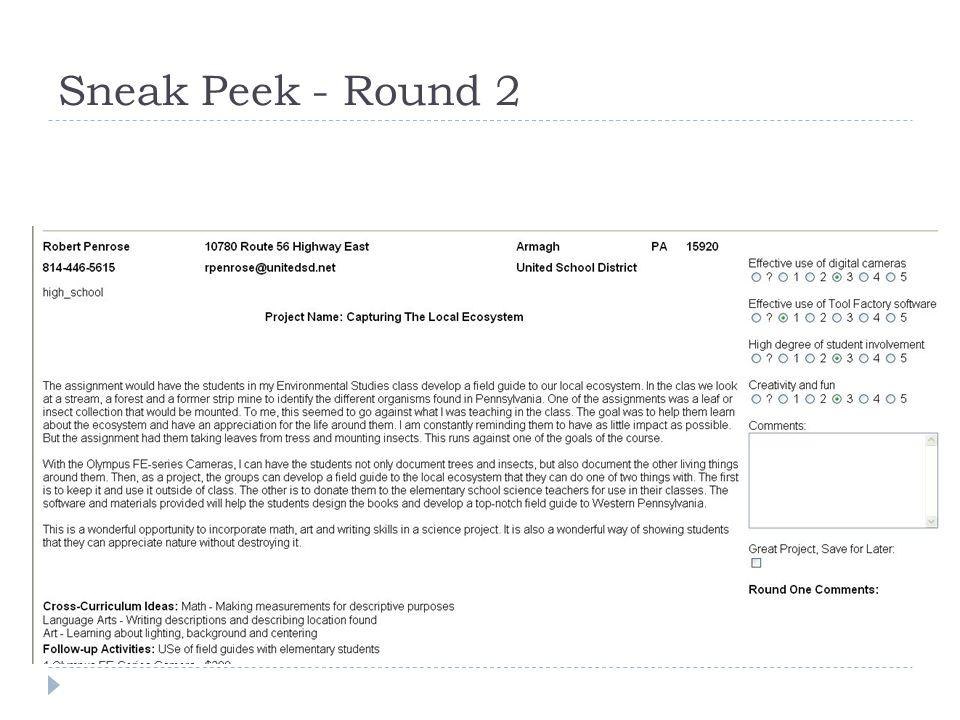 Sneak Peek - Round 2