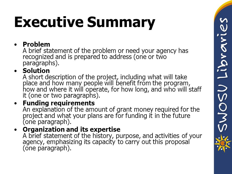 Executive Summary Problem A brief statement of the problem or need your agency has recognized and is prepared to address (one or two paragraphs).