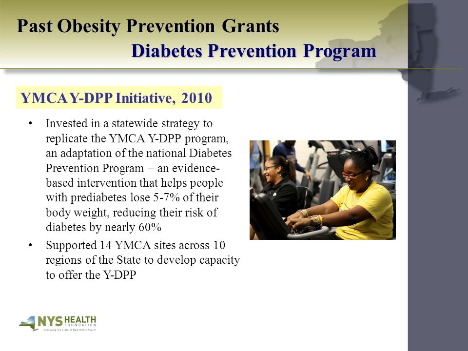 Past Obesity Prevention Grants Diabetes Prevention Program Invested in a statewide strategy to replicate the YMCA Y-DPP program, an adaptation of the national Diabetes Prevention Program – an evidence- based intervention that helps people with prediabetes lose 5-7% of their body weight, reducing their risk of diabetes by nearly 60% Supported 14 YMCA sites across 10 regions of the State to develop capacity to offer the Y-DPP YMCA Y-DPP Initiative, 2010