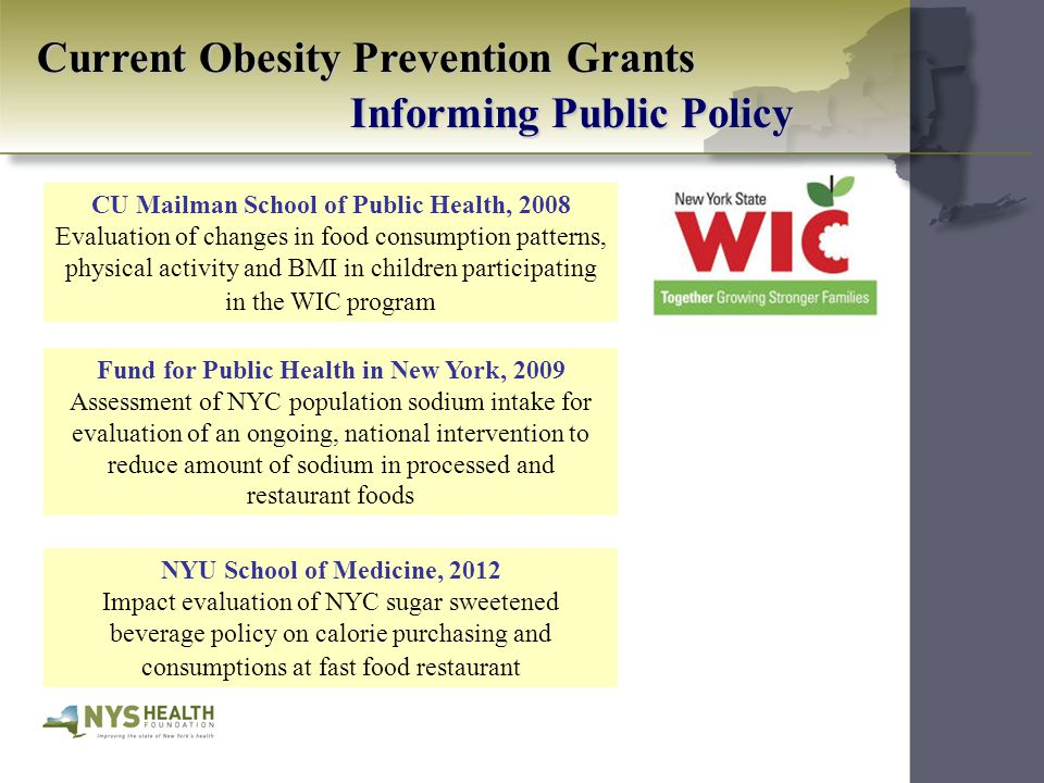 Current Obesity Prevention Grants Informing Public Policy CU Mailman School of Public Health, 2008 Evaluation of changes in food consumption patterns, physical activity and BMI in children participating in the WIC program Fund for Public Health in New York, 2009 Assessment of NYC population sodium intake for evaluation of an ongoing, national intervention to reduce amount of sodium in processed and restaurant foods NYU School of Medicine, 2012 Impact evaluation of NYC sugar sweetened beverage policy on calorie purchasing and consumptions at fast food restaurant