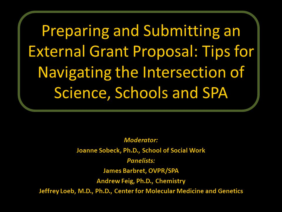 Preparing and Submitting an External Grant Proposal: Tips for Navigating the Intersection of Science, Schools and SPA Moderator: Joanne Sobeck, Ph.D., School of Social Work Panelists: James Barbret, OVPR/SPA Andrew Feig, Ph.D., Chemistry Jeffrey Loeb, M.D., Ph.D., Center for Molecular Medicine and Genetics