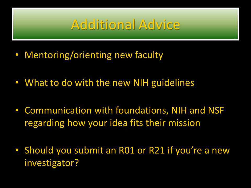 Mentoring/orienting new faculty What to do with the new NIH guidelines Communication with foundations, NIH and NSF regarding how your idea fits their mission Should you submit an R01 or R21 if you're a new investigator.