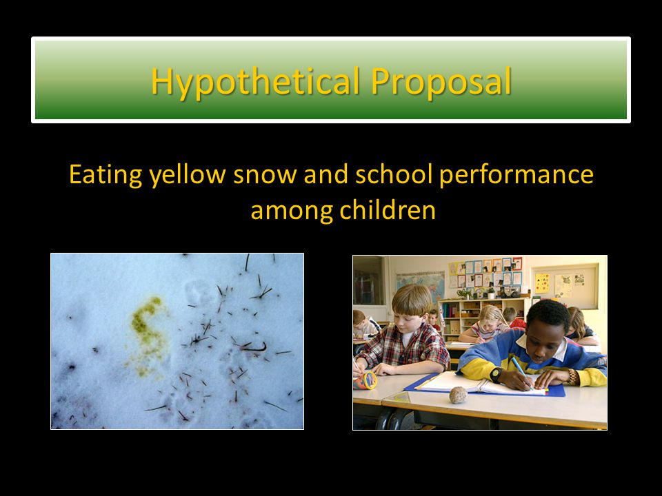 Eating yellow snow and school performance among children Hypothetical Proposal