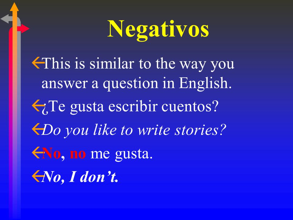 Negativos ßThis is similar to the way you answer a question in English.