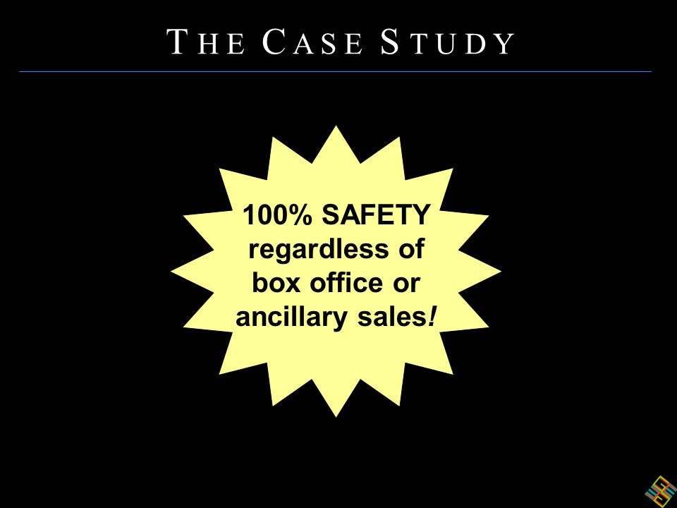 100% SAFETY regardless of box office or ancillary sales! T H E C A S E S T U D Y