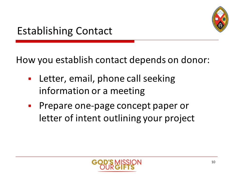 Establishing Contact How you establish contact depends on donor:  Letter, email, phone call seeking information or a meeting  Prepare one-page concept paper or letter of intent outlining your project 10
