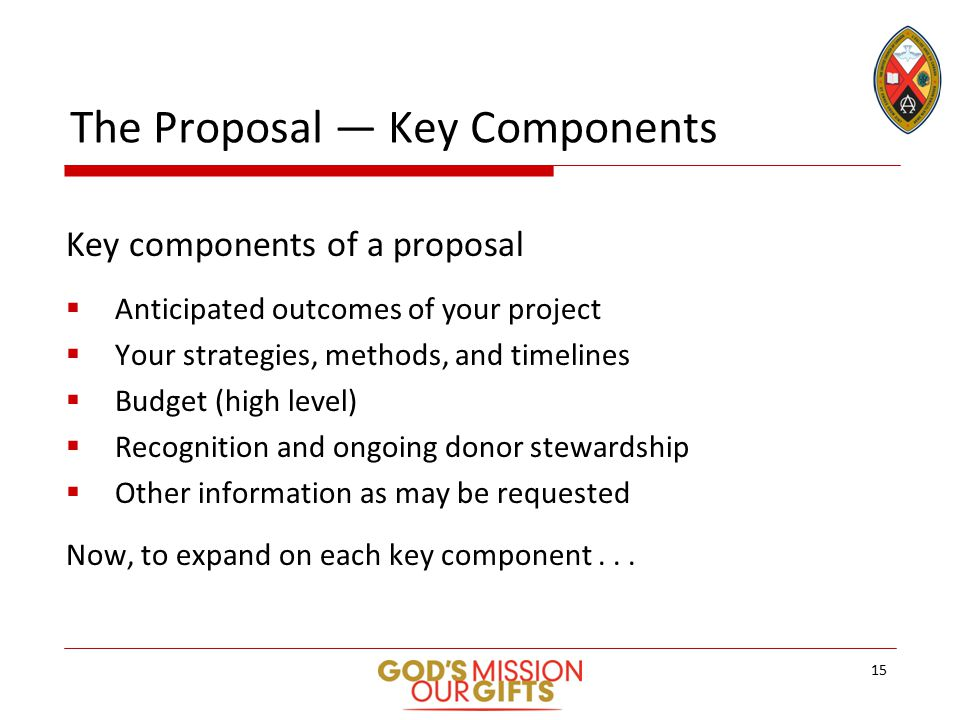 The Proposal — Key Components Key components of a proposal  Anticipated outcomes of your project  Your strategies, methods, and timelines  Budget (high level)  Recognition and ongoing donor stewardship  Other information as may be requested Now, to expand on each key component...