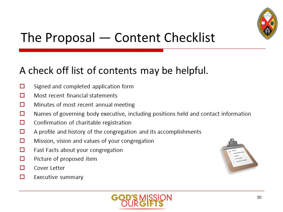The Proposal — Content Checklist A check off list of contents may be helpful.