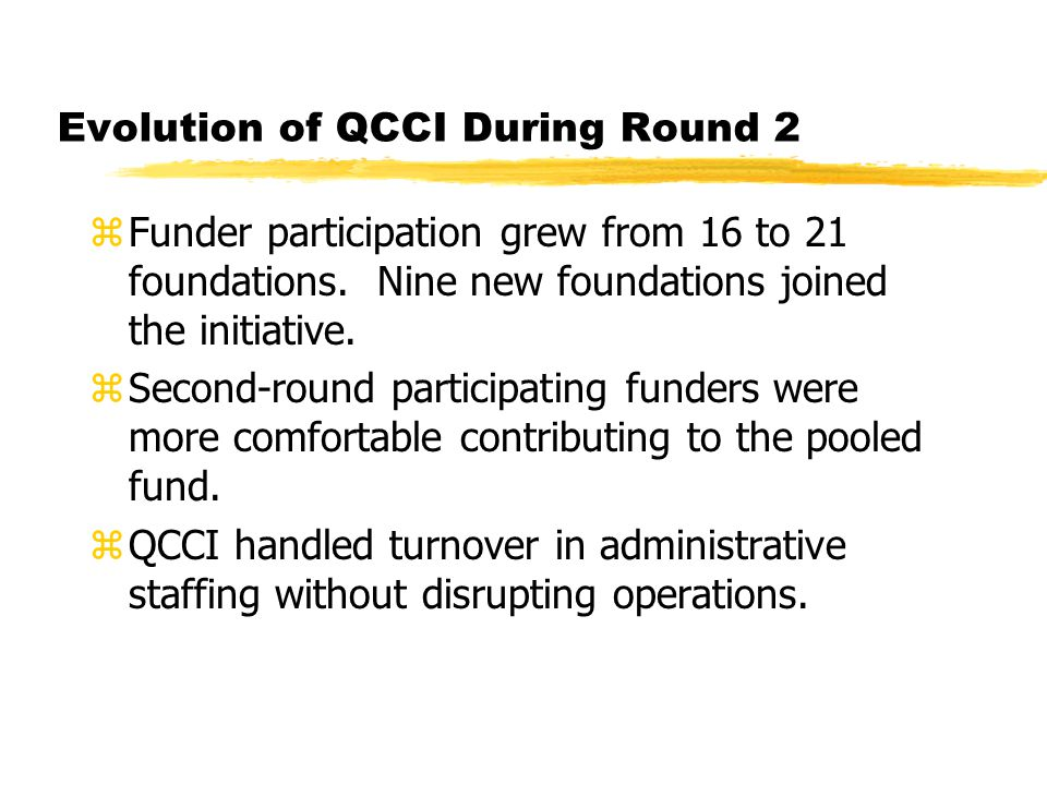 Evolution of QCCI During Round 2 zFunder participation grew from 16 to 21 foundations.