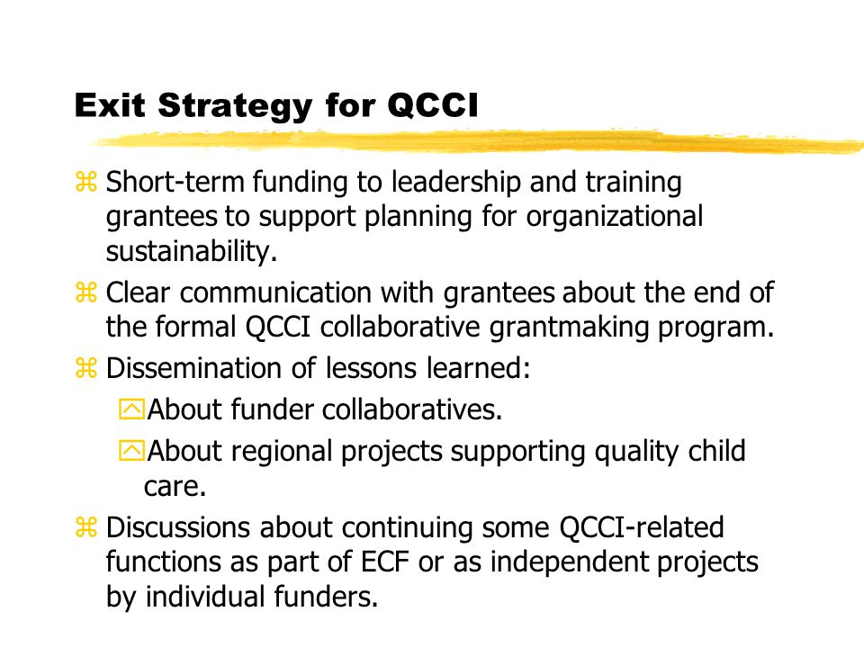 Exit Strategy for QCCI zShort-term funding to leadership and training grantees to support planning for organizational sustainability.