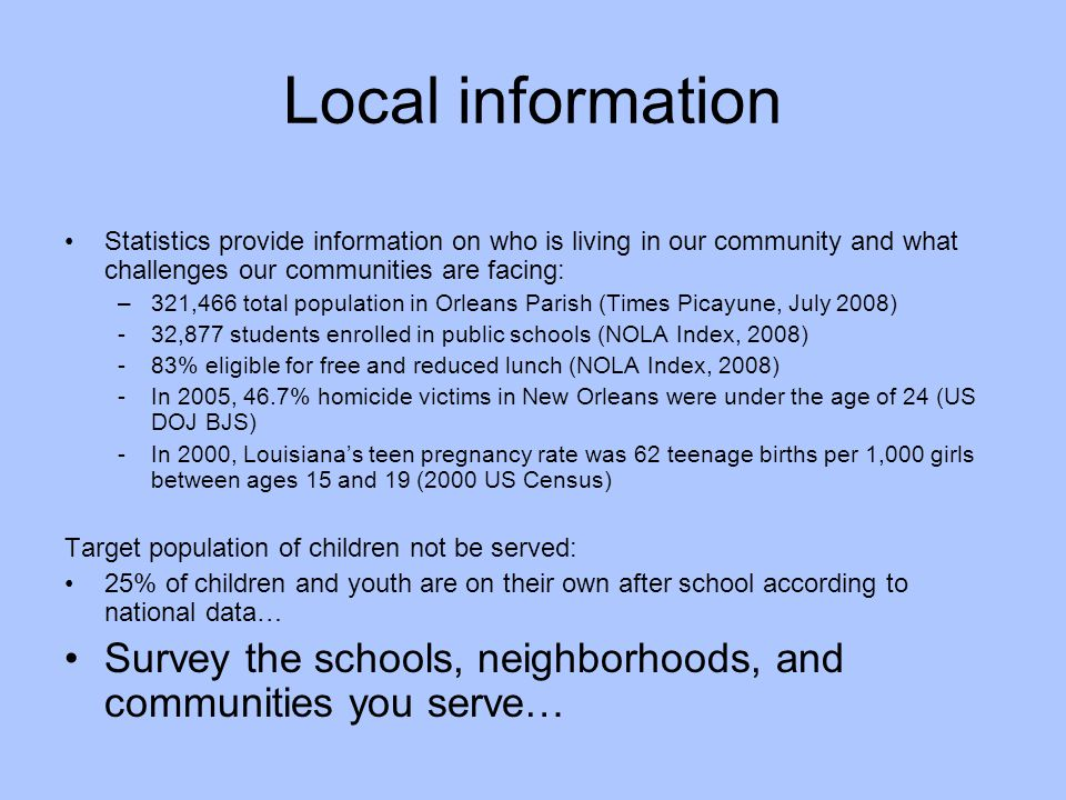 Local information Statistics provide information on who is living in our community and what challenges our communities are facing: –321,466 total popu