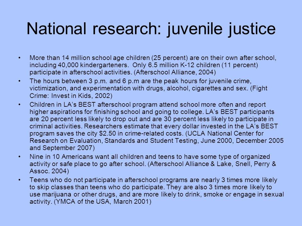 National research: juvenile justice More than 14 million school age children (25 percent) are on their own after school, including 40,000 kindergarten