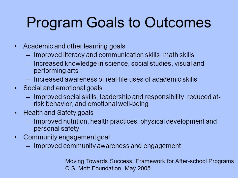 Program Goals to Outcomes Academic and other learning goals –Improved literacy and communication skills, math skills –Increased knowledge in science,
