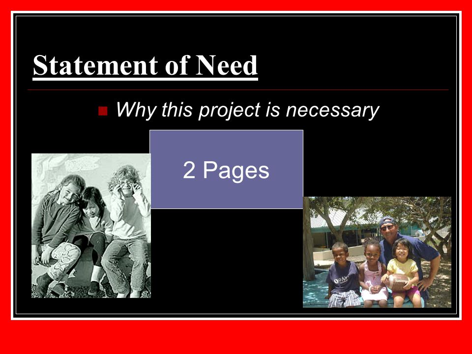 Statement of Need Why this project is necessary 2 Pages