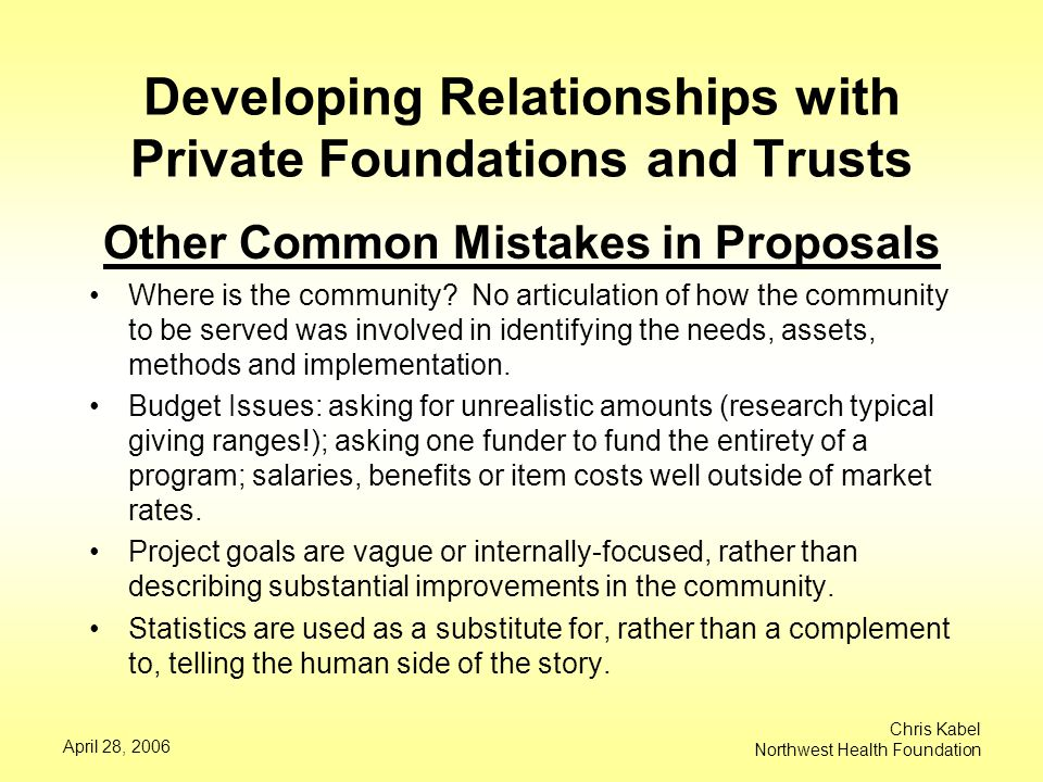 April 28, 2006 Chris Kabel Northwest Health Foundation Developing Relationships with Private Foundations and Trusts Other Common Mistakes in Proposals Where is the community.