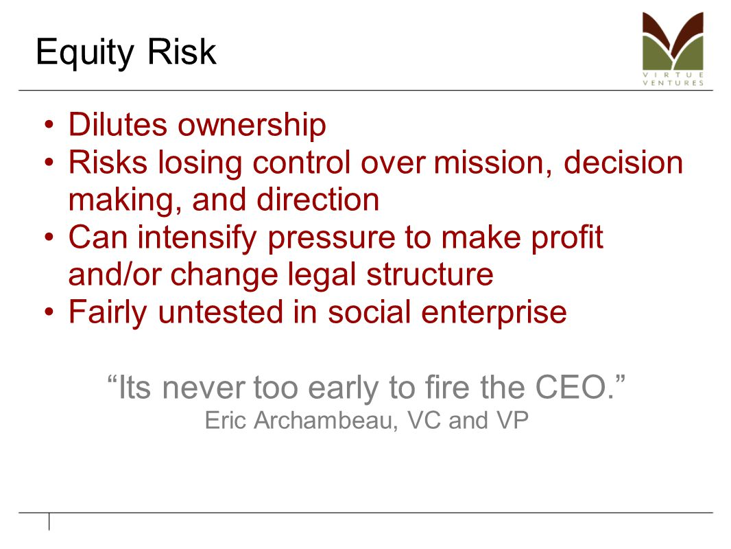 Equity Risk Dilutes ownership Risks losing control over mission, decision making, and direction Can intensify pressure to make profit and/or change le