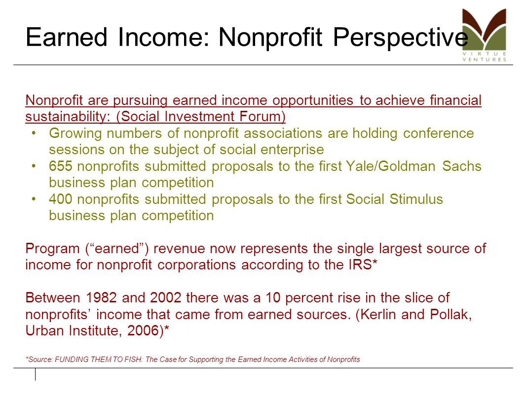Earned Income: Nonprofit Perspective Nonprofit are pursuing earned income opportunities to achieve financial sustainability: (Social Investment Forum)
