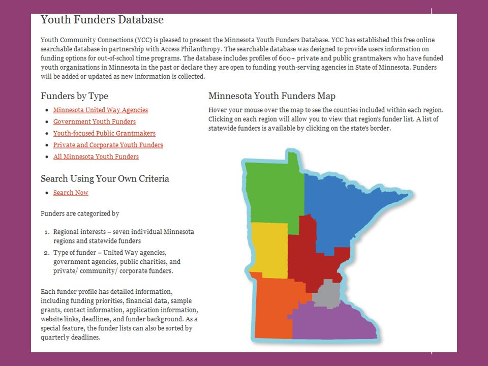 There are three ways to start searching for youth funders By the geographic region in which your organization works –seven Minnesota regions or statewide.
