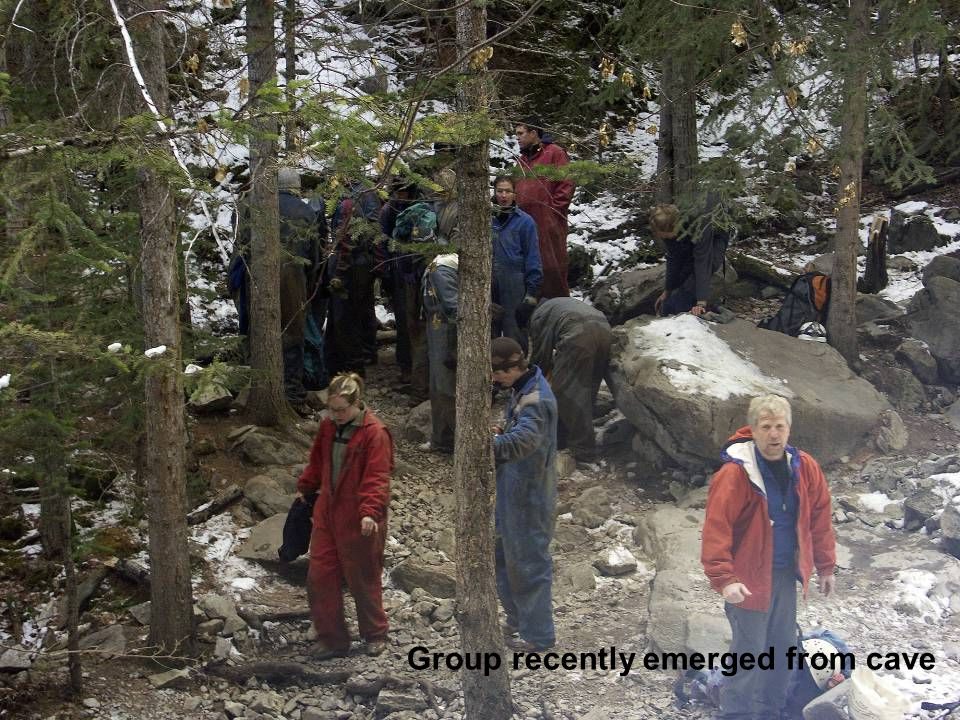 Group recently emerged from cave