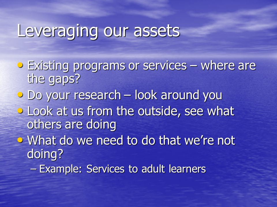 Leveraging our assets Existing programs or services – where are the gaps.