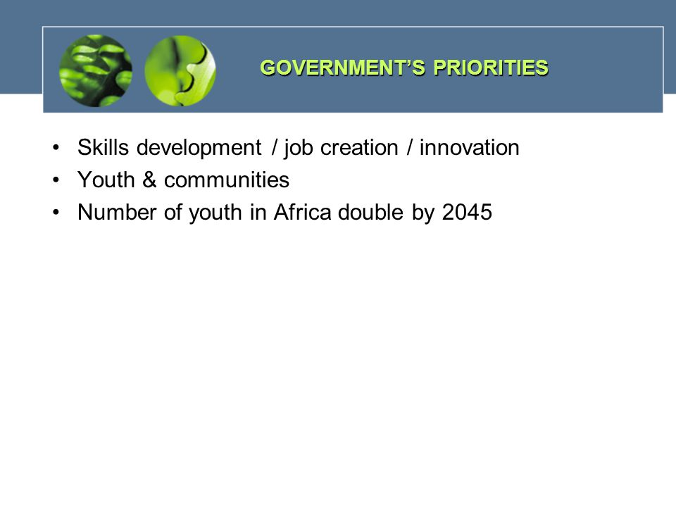 Skills development / job creation / innovation Youth & communities Number of youth in Africa double by 2045 GOVERNMENT'S PRIORITIES