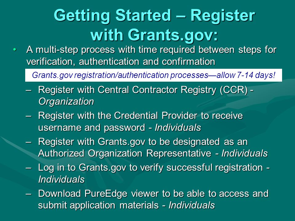 Getting Started – Register with Grants.gov: A multi-step process with time required between steps for verification, authentication and confirmationA multi-step process with time required between steps for verification, authentication and confirmation –Register with Central Contractor Registry (CCR) - Organization –Register with the Credential Provider to receive username and password - Individuals –Register with Grants.gov to be designated as an Authorized Organization Representative - Individuals –Log in to Grants.gov to verify successful registration - Individuals –Download PureEdge viewer to be able to access and submit application materials - Individuals Grants.gov registration/authentication processes—allow 7-14 days!