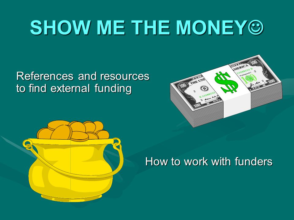 SHOW ME THE MONEY SHOW ME THE MONEY How to work with funders References and resources to find external funding