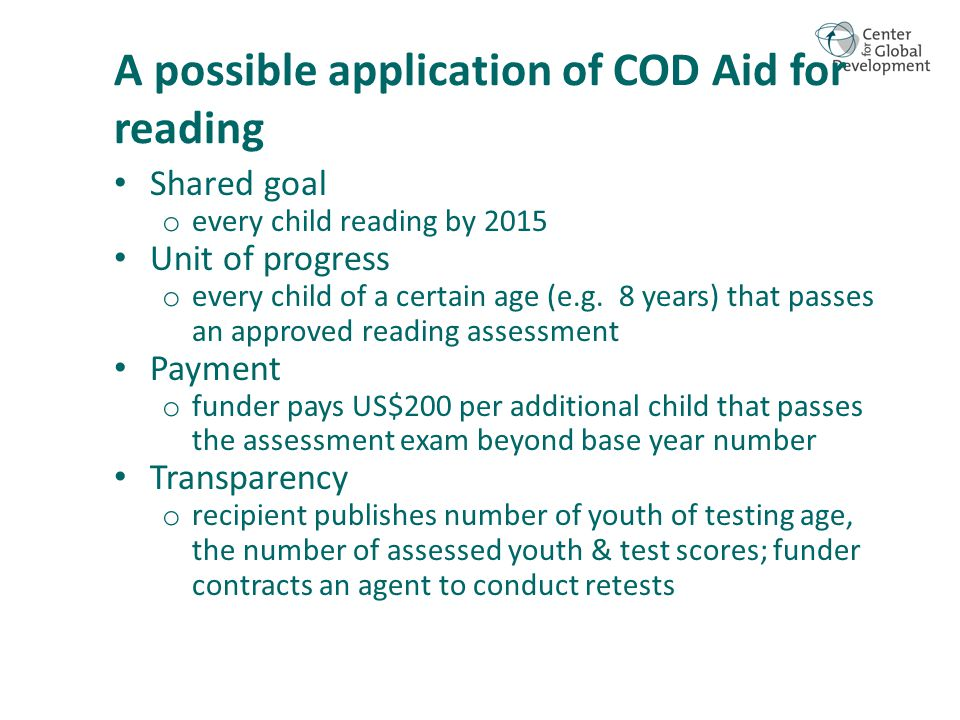 Shared goal o every child reading by 2015 Unit of progress o every child of a certain age (e.g.