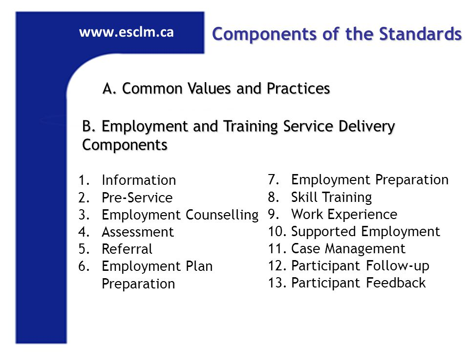 www.esclm.ca Components of the Standards A. Common Values and Practices B.