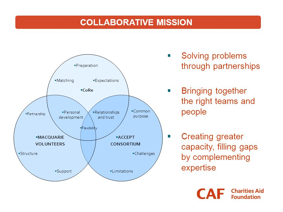  Solving problems through partnerships  Bringing together the right teams and people  Creating greater capacity, filling gaps by complementing expe