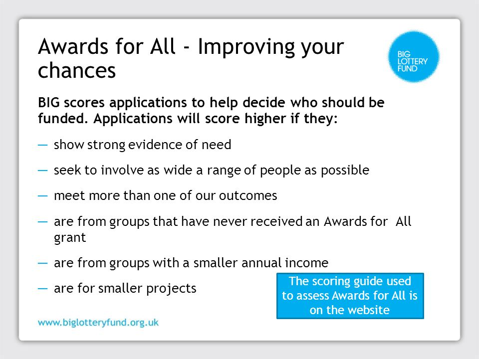Awards for All - Improving your chances BIG scores applications to help decide who should be funded.