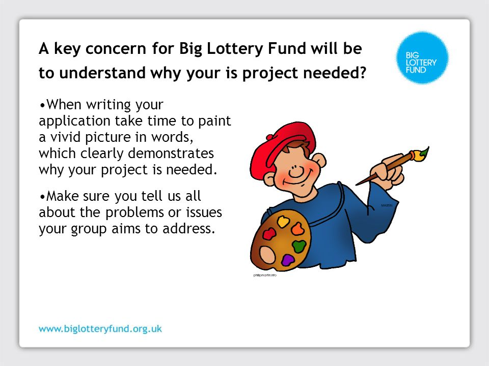 A key concern for Big Lottery Fund will be to understand why your is project needed.
